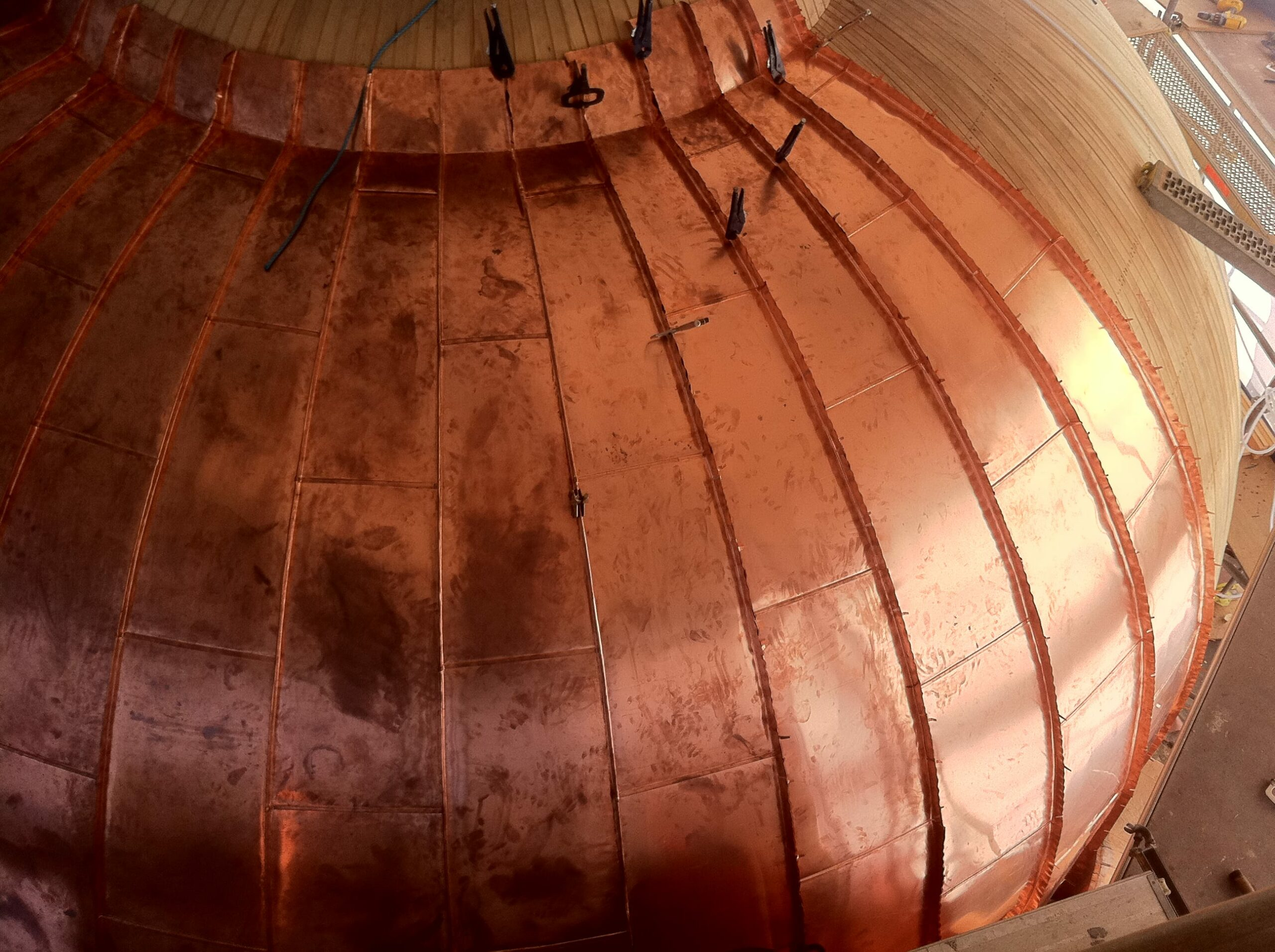 Curved copper work