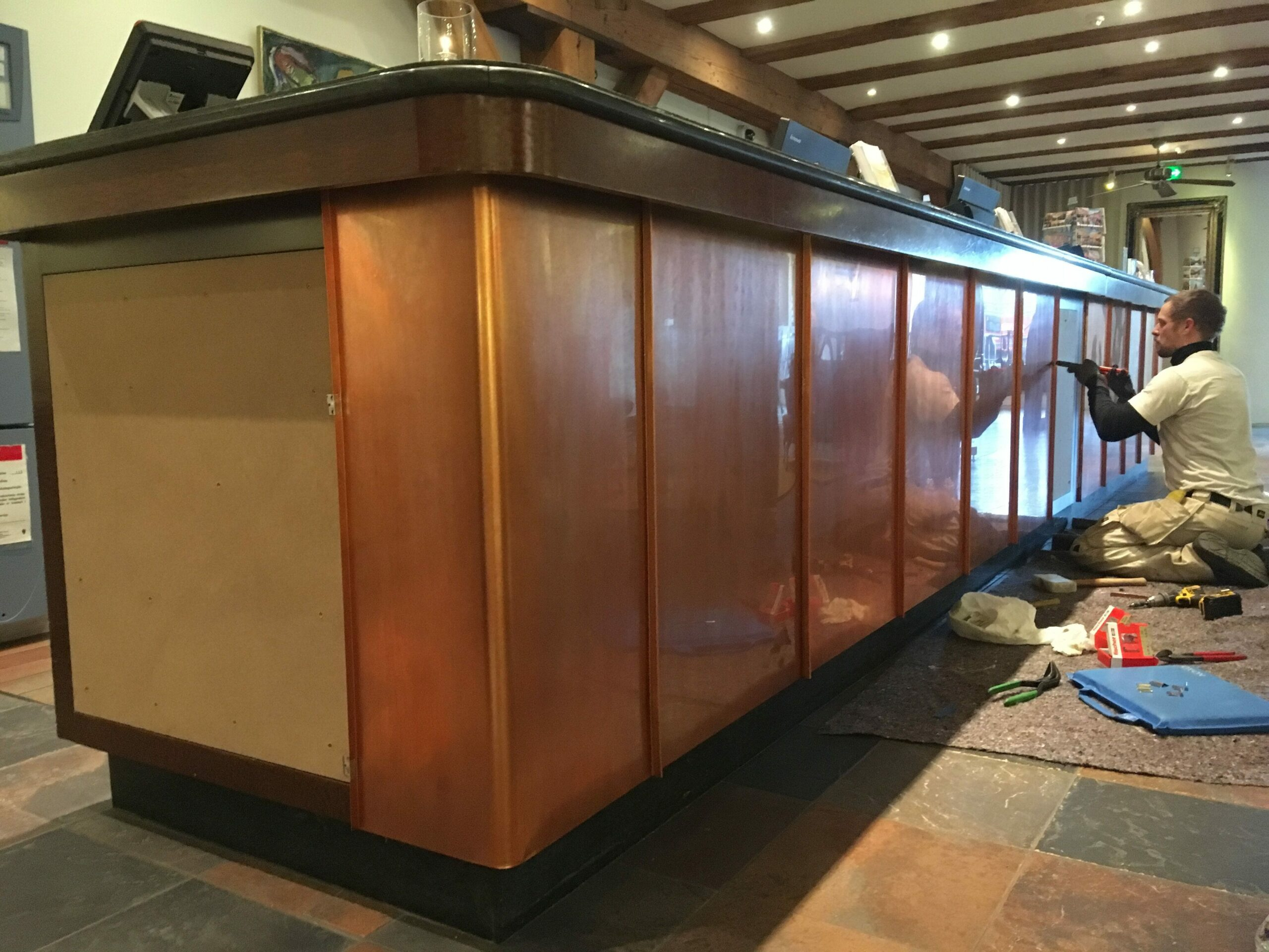 Setting up the copper reception desk