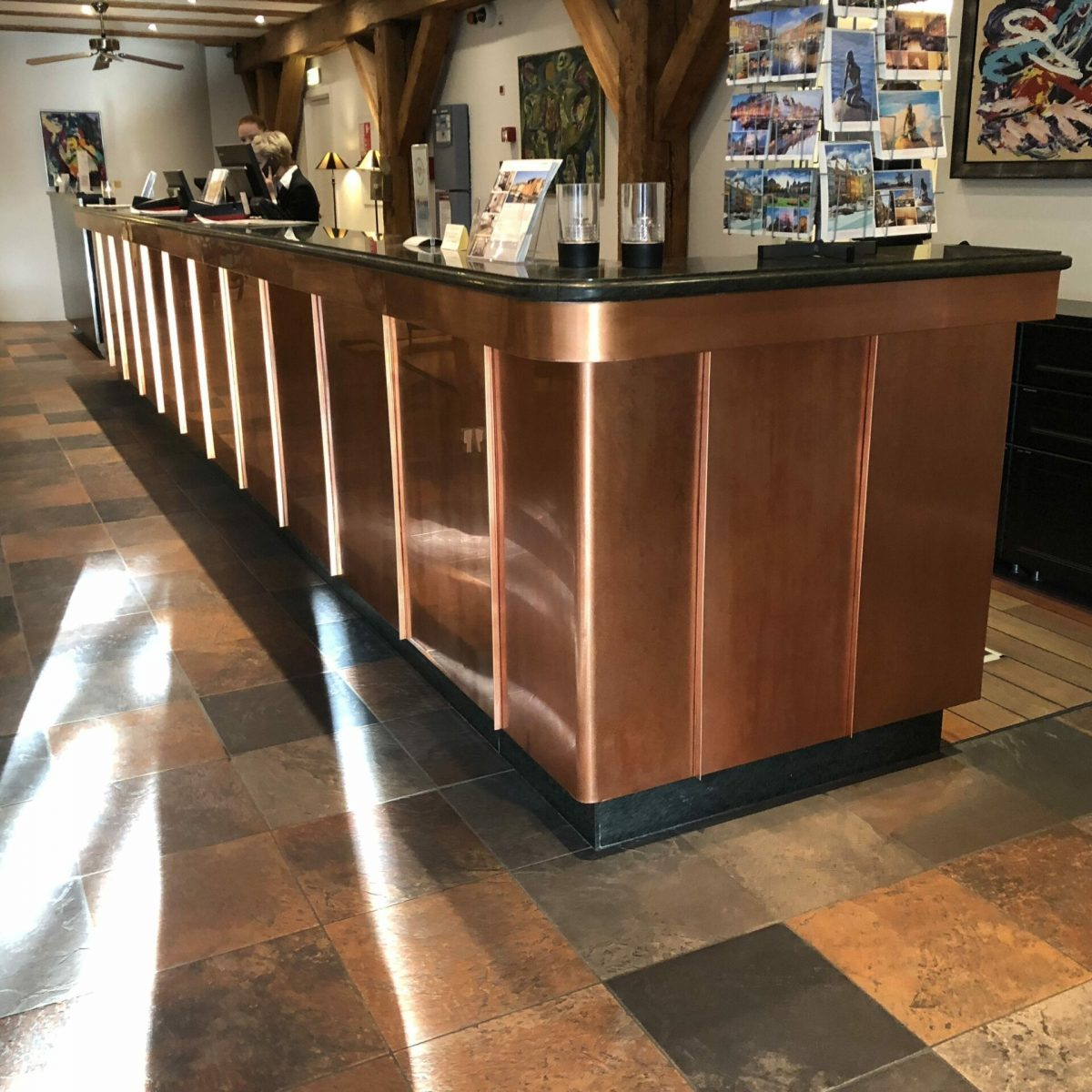 Crafts Copper counter for reception