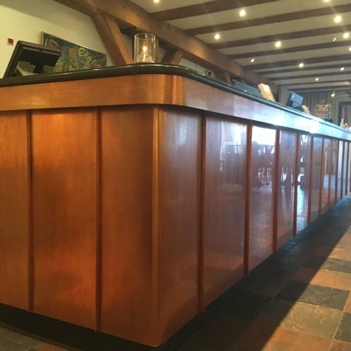 Reception desk in copper